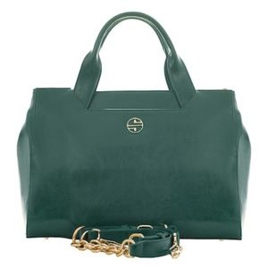 New! Segolene En Cuir Forest Green Leather Satchel
